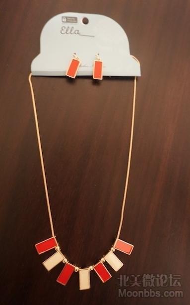 [5刀]时尚红白相间项链耳环全套