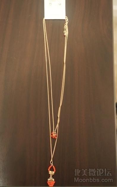 [15刀]橘红色纹路双层长款项链耳环全套