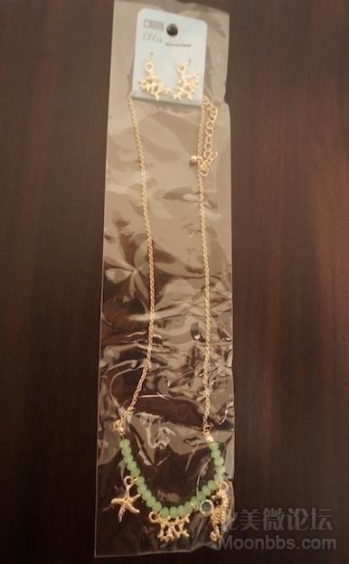 [8刀]淡绿色高雅长款项链耳环全套