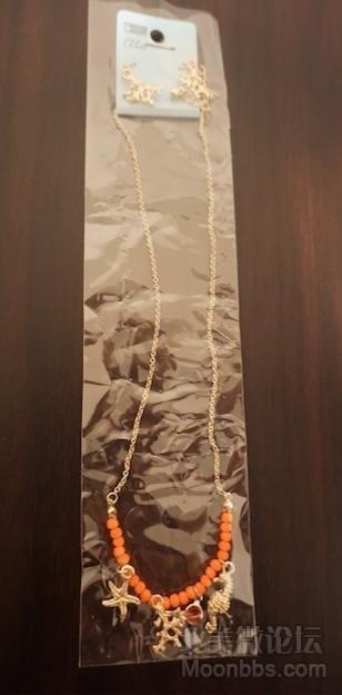 [8刀]橘色高雅长款项链耳环全套