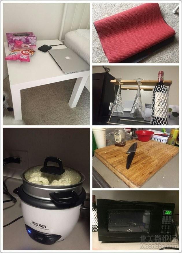床头柜,瑜伽垫,酒架和酒杯,电饭锅,菜板,微波炉