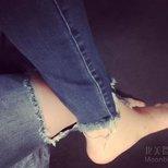 #经验#c21淘到的一条大大大爱的破洞毛边九分牛仔裤